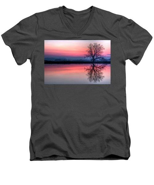 Smoky Sunrise Men's V-Neck T-Shirt by Fiskr Larsen