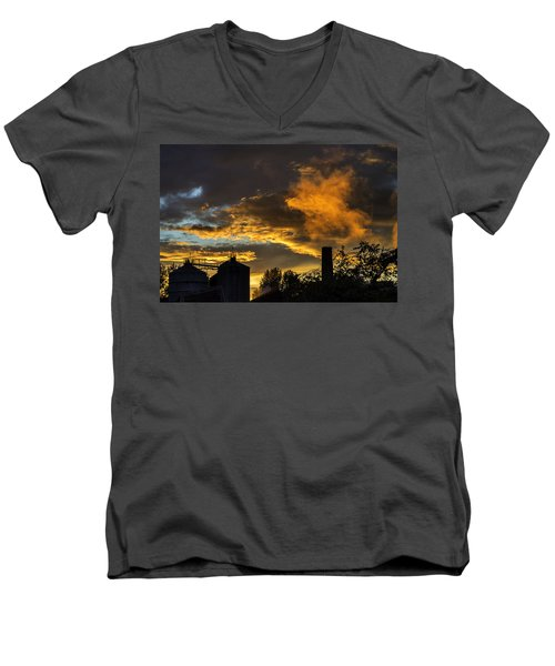 Men's V-Neck T-Shirt featuring the photograph Smoky Sunset by Jeremy Lavender Photography