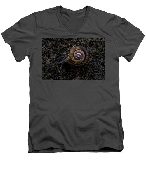 Men's V-Neck T-Shirt featuring the photograph Snail by Jay Stockhaus