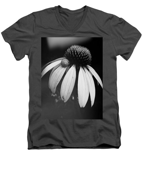 Men's V-Neck T-Shirt featuring the photograph Snail by Sharon Jones