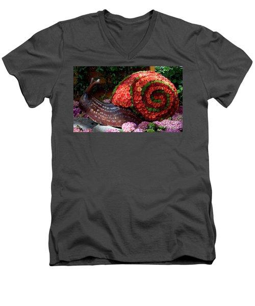 Snail With Flowers Men's V-Neck T-Shirt