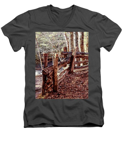 Men's V-Neck T-Shirt featuring the photograph Snake Fence by B Wayne Mullins