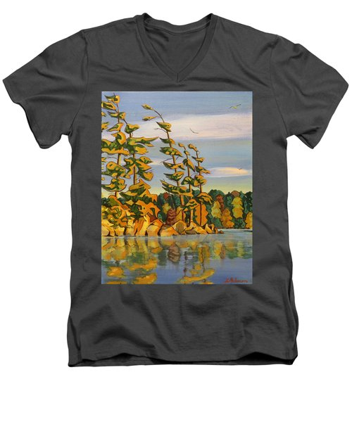 Snake Island In Fall Sunset Men's V-Neck T-Shirt by David Gilmore