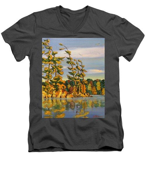 Snake Island In Fall Sunset Men's V-Neck T-Shirt