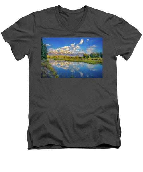 Snake River Reflection Grand Teton Men's V-Neck T-Shirt