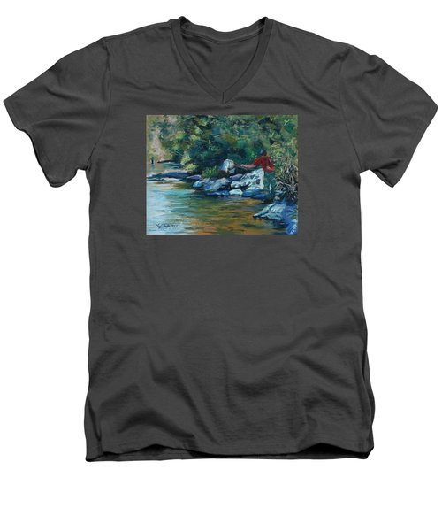 Sneaking Up On A Rainbow Men's V-Neck T-Shirt