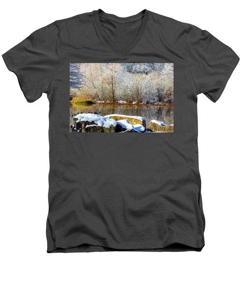 Snow Across The Lake Men's V-Neck T-Shirt