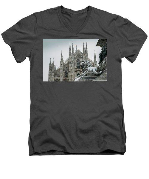 Snow At Milan's Duomo Cathedral  Men's V-Neck T-Shirt