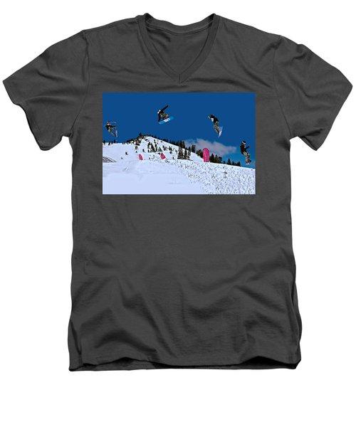 Snow Boarder Men's V-Neck T-Shirt