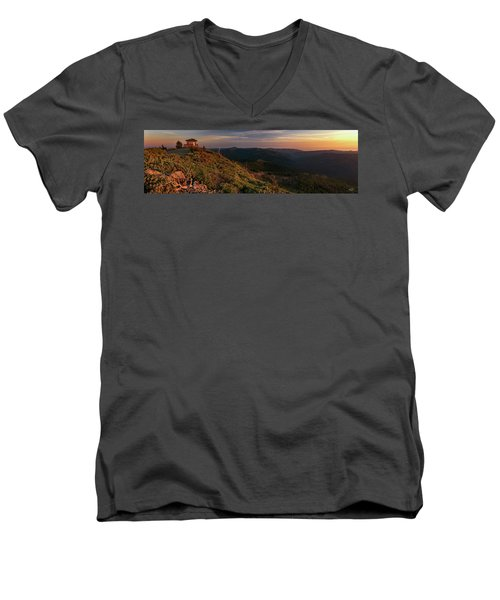 Men's V-Neck T-Shirt featuring the photograph Snow Camp Lookout by Leland D Howard
