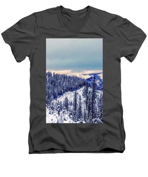 Snow Covered Mountains Men's V-Neck T-Shirt