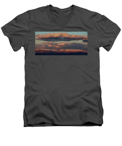 Men's V-Neck T-Shirt featuring the photograph Snow Covered Red Rock Panorama by Ron Chilston
