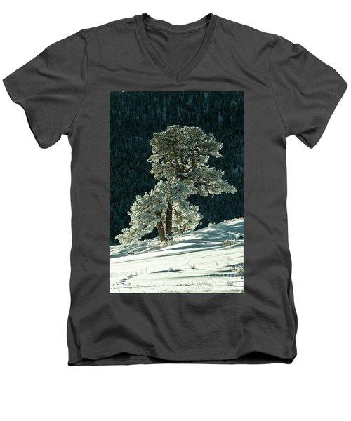 Snow Covered Tree - 9182 Men's V-Neck T-Shirt