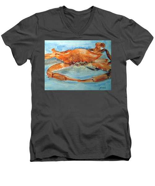 Men's V-Neck T-Shirt featuring the painting Snow Crab Is Ready by Carol Grimes