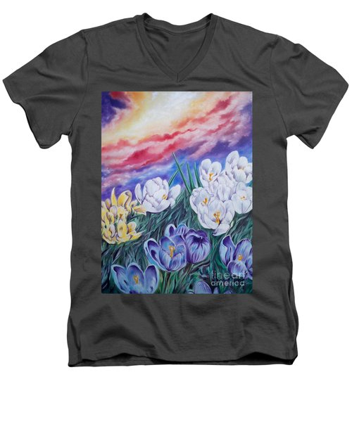 Men's V-Neck T-Shirt featuring the painting Snow Crocus by Sigrid Tune