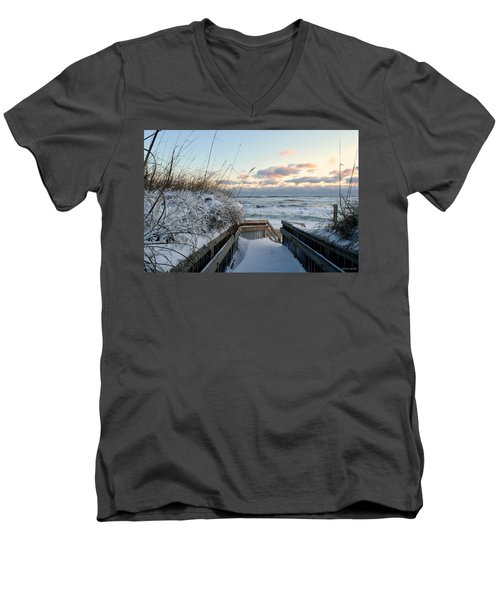 Snow Day At The Beach Men's V-Neck T-Shirt