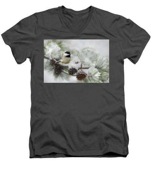 Men's V-Neck T-Shirt featuring the photograph Snow Day by Lori Deiter