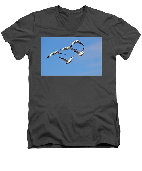 Men's V-Neck T-Shirt featuring the photograph Snow Geese Flormation by Elvira Butler