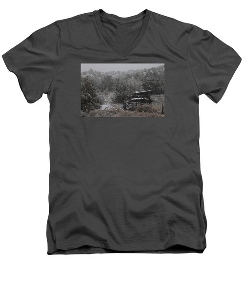 Snow In The Old Santa Fe Corral Men's V-Neck T-Shirt by Christopher Kirby