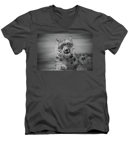 Men's V-Neck T-Shirt featuring the photograph Snow Leopard  Bw by Sandy Keeton