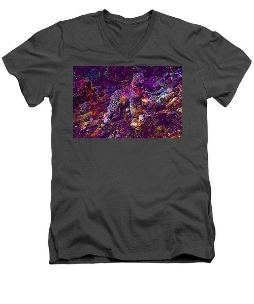 Men's V-Neck T-Shirt featuring the digital art Snow Leopard Cat Animals  by PixBreak Art