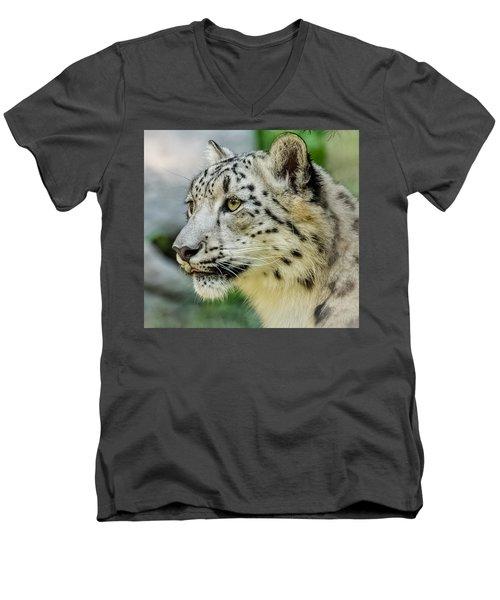 Snow Leopard Portrait Men's V-Neck T-Shirt by Yeates Photography