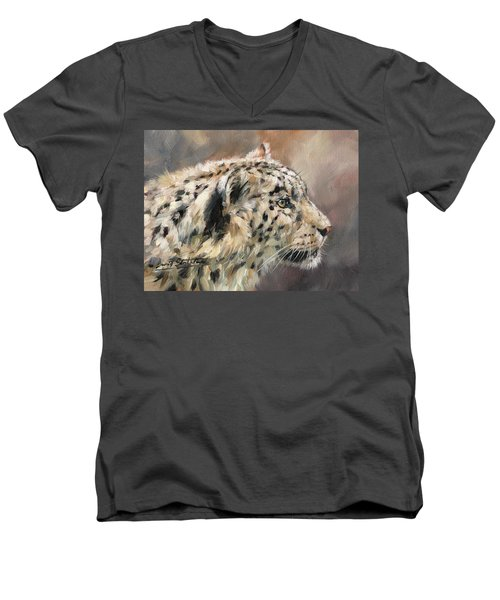Men's V-Neck T-Shirt featuring the painting Snow Leopard Study by David Stribbling