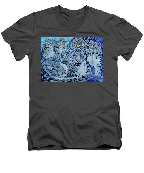Snow Leopards Men's V-Neck T-Shirt by Raymond Perez
