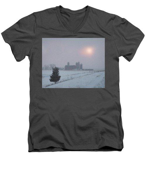 Snow Muted Sunset Men's V-Neck T-Shirt by Judy Johnson