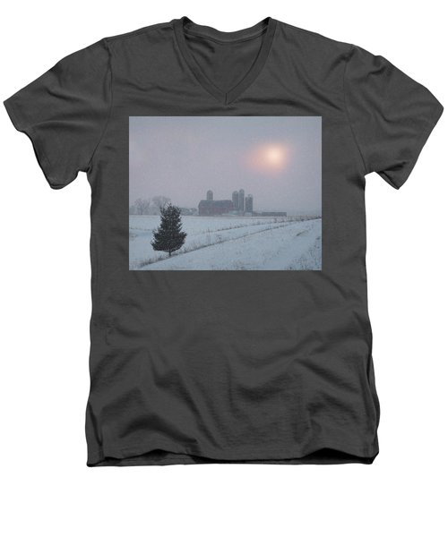 Snow Muted Sunset Men's V-Neck T-Shirt