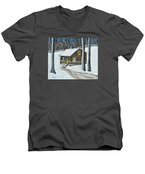 Snow On Cabin Men's V-Neck T-Shirt by Reb Frost