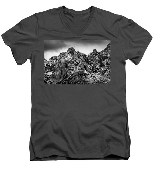 Men's V-Neck T-Shirt featuring the photograph Snow On Peaks 46 by Mark Myhaver