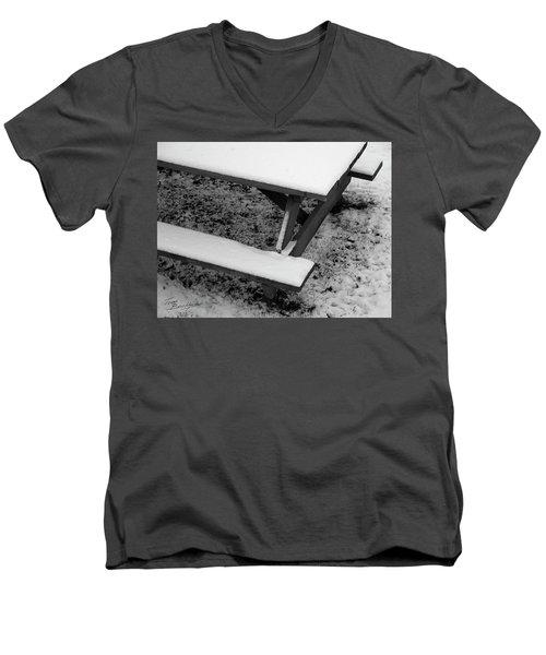 Snow On Picnic Table Men's V-Neck T-Shirt