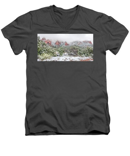 Snow On Red Rock Men's V-Neck T-Shirt