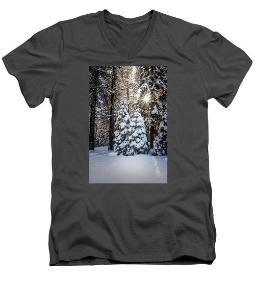 Men's V-Neck T-Shirt featuring the photograph Snow On Spooner Summit by Janis Knight
