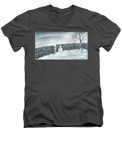 Men's V-Neck T-Shirt featuring the painting Snow Patrol by Kenneth Clarke