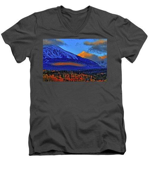 Men's V-Neck T-Shirt featuring the photograph Snow Peak Fall by Scott Mahon