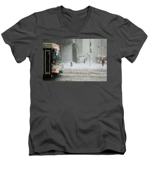 Men's V-Neck T-Shirt featuring the photograph Snow Storm Bus Stop by Stephen Holst