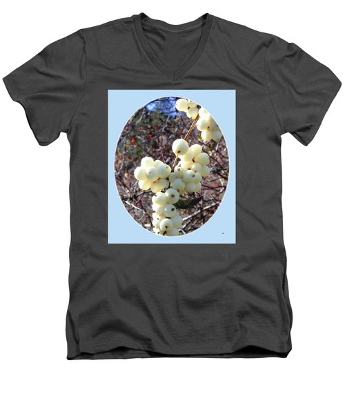 Men's V-Neck T-Shirt featuring the photograph Snowberry Cluster by Will Borden