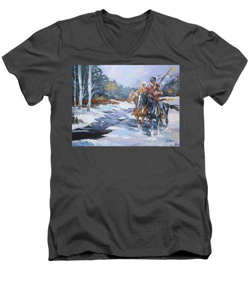 Snowbound Hunters Men's V-Neck T-Shirt by Al Brown