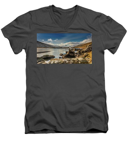 Men's V-Neck T-Shirt featuring the photograph Snowdon From Llynnau Mymbyr by Adrian Evans
