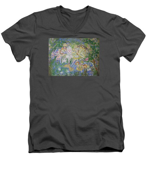 Snowdrop The Fairy And Friends Men's V-Neck T-Shirt by Judith Desrosiers
