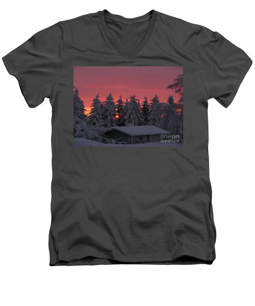 Snowed In Men's V-Neck T-Shirt by Rod Jellison