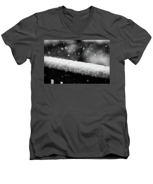 Snowfall On The Handrail Men's V-Neck T-Shirt by Jason Coward