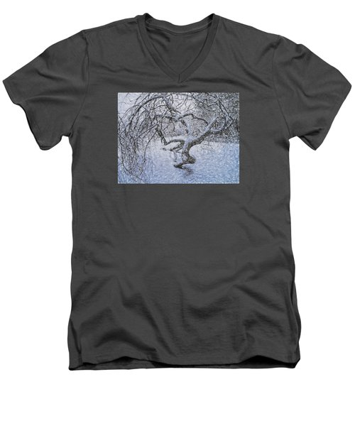 Men's V-Neck T-Shirt featuring the photograph Snowfall by Vladimir Kholostykh
