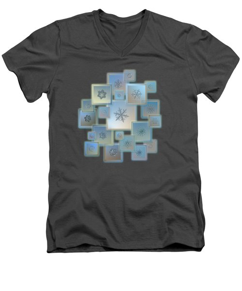 Men's V-Neck T-Shirt featuring the photograph Snowflake Collage - Bright Crystals 2012-2014 by Alexey Kljatov