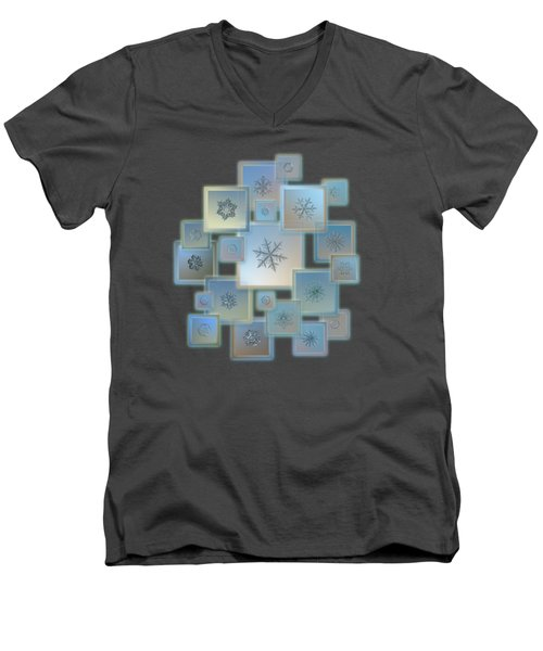 Snowflake Collage - Bright Crystals 2012-2014 Men's V-Neck T-Shirt by Alexey Kljatov