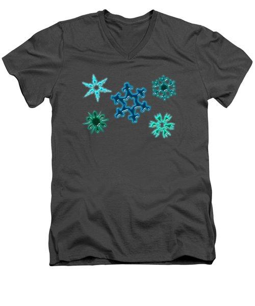 Snowflake Pattern Men's V-Neck T-Shirt