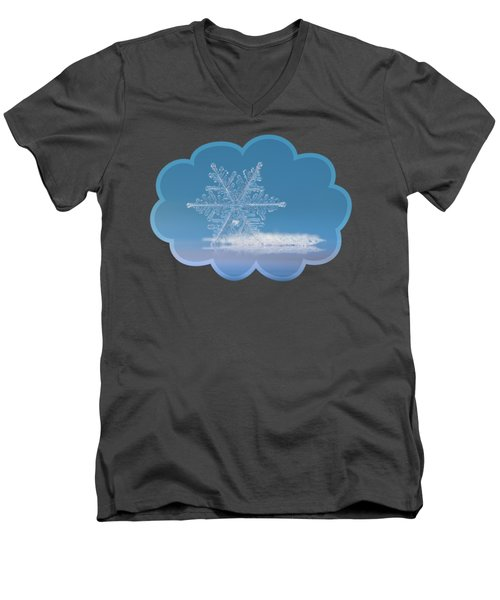 Men's V-Neck T-Shirt featuring the photograph Snowflake Photo - Cloud Number Nine by Alexey Kljatov