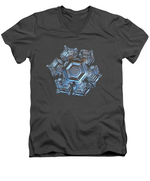 Men's V-Neck T-Shirt featuring the photograph Snowflake Photo - Cold Metal by Alexey Kljatov